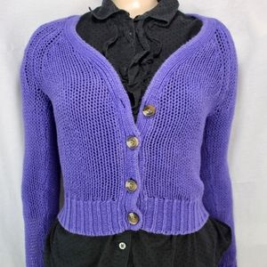 Purple American Eagle Knit Button Up Cardigan XS
